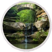 Hocking Hills Waterfall 1 Round Beach Towel