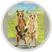 Hoedown On The Tundra Round Beach Towel by Phyllis Kaltenbach