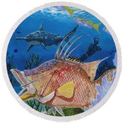Hog Fish Spear Round Beach Towel