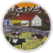 Round Beach Towel featuring the painting Hog Heaven Farm by Jeffrey Koss