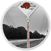 Hog Sign Round Beach Towel