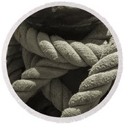 Hold On Black And White Sepia Round Beach Towel