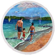 Holding Hands Round Beach Towel by Laura Forde