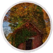 Holding Up The  Fall Colors Round Beach Towel by Jeff Folger