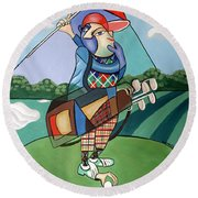 Round Beach Towel featuring the painting Hole In One by Anthony Falbo
