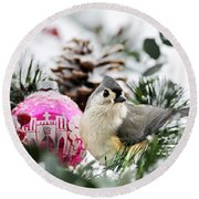 Holiday Bird Titmouse Square Round Beach Towel by Christina Rollo