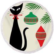 Holiday Cat On Cream Round Beach Towel