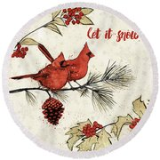 Holiday Gem II Round Beach Towel by Janelle Penner