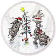 Holiday Ice Round Beach Towel