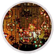 Holiday Lights Round Beach Towel by Suzanne Stout
