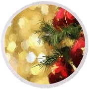 Holiday Ornaments Round Beach Towel by Anthony Fishburne