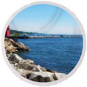 Holland Harbor Light Round Beach Towel