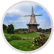 Holland Michigan Windmill Landscape Round Beach Towel