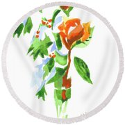 Round Beach Towel featuring the painting Holly With Red Roses In A Vase by Kip DeVore