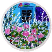 Hollyhock Alley  Round Beach Towel