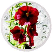 Hollyhock Is Hollyhock Round Beach Towel