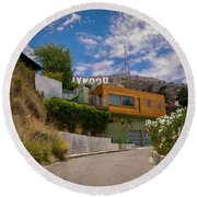Round Beach Towel featuring the digital art Hollywood  by Gandz Photography