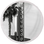 Hollywood Landmarks - Hollywood Theater Round Beach Towel