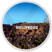 Hollywood Sign Round Beach Towel by Az Jackson
