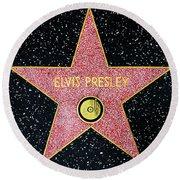 Hollywood Walk Of Fame Elvis Presley 5d28923 Round Beach Towel