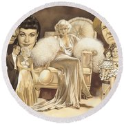 Hollywoods Golden Era Round Beach Towel
