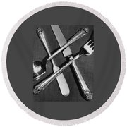 Holmes And Edwards Collection Silverware Round Beach Towel