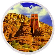 Holy Cross Chapel Coconino National Forest Round Beach Towel