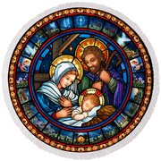 Holy Family Christmas Story Round Beach Towel