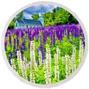 Holy Lupines Round Beach Towel
