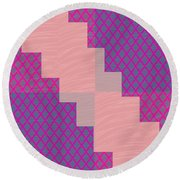Holy Purple Diamond Pattern And Silken Light Crystal Across Round Beach Towel by Navin Joshi