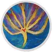 Round Beach Towel featuring the painting Holy Spirit Which Dwells In You by Cassie Sears