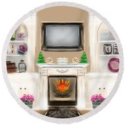 Round Beach Towel featuring the digital art Home For The Holidays by Christine Fournier
