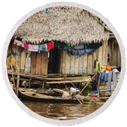 Home In Shanty Town Round Beach Towel