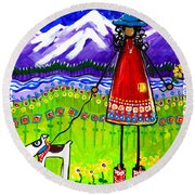 Round Beach Towel featuring the painting Home by Jackie Carpenter