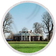 Home Of Thomas Jefferson, Monticello Round Beach Towel by Panoramic Images
