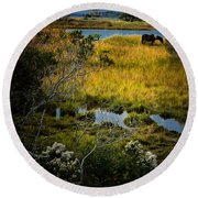 Home On The Range Round Beach Towel by Robert McCubbin