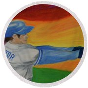 Round Beach Towel featuring the drawing Home Run Swing Baseball Batter by First Star Art
