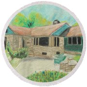 Round Beach Towel featuring the painting Home Sweet Home by Jeanne Fischer