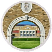 Round Beach Towel featuring the photograph Homecoming Bonfire Arch by Mae Wertz