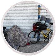 Homeless In Burbank California Round Beach Towel