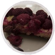 Round Beach Towel featuring the photograph Homemade Cheesecake by Miguel Winterpacht