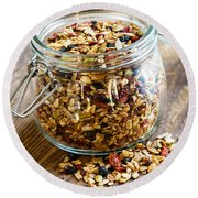 Homemade Granola In Glass Jar Round Beach Towel