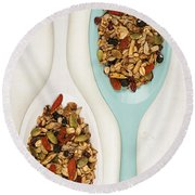 Homemade Granola In Spoons Round Beach Towel
