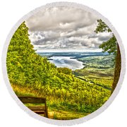 Honeoye Lake Overlook Round Beach Towel
