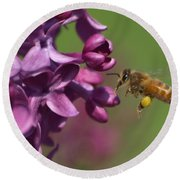 Honey Bee And Lilac Round Beach Towel by James Peterson