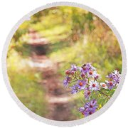 Round Beach Towel featuring the photograph Honey Bee On Purple Aster by Brooke T Ryan