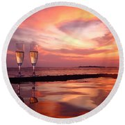 Honeymoon - A Heart In The Sky Round Beach Towel