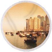 Hong Kong Harbour 02 Round Beach Towel