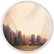 Hong Kong Harbour Sunset Round Beach Towel by Pixel  Chimp