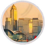 Hong Kong. Round Beach Towel by Luciano Mortula